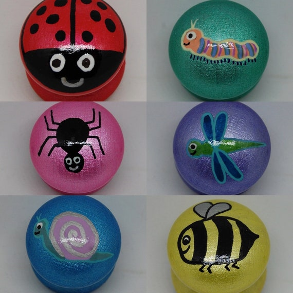 Cute Bug Drawer Handles 6 Designs Dragonfly, Caterpillar, Bee, Ladybird, Snail and Spider 3 Sizes Available Kids Room Decor