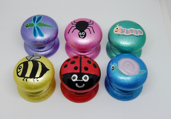 Cute Bug Drawer Handles Set of 6 Mini Beasts- Dragonfly, Spider, Ladybird, Bee, Caterpillar, Snail Kids Bedroom Decor