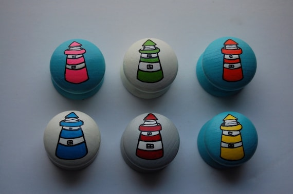 Set of 6 Lighthouse Drawer Knobs 3 Sizes Available