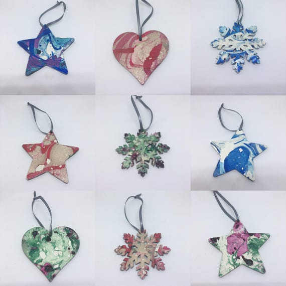 Watercolour Christmas Decorations Snowflake, Star, Heart Hanging Decoration Gold, Silver, Red, Green, Blue, Northern Lights 8cm
