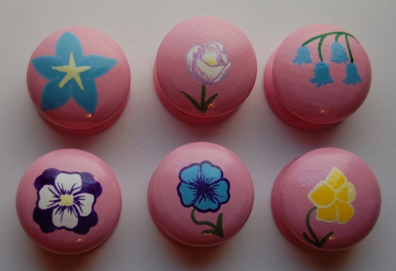 Spring Flower Drawer Knobs/ Cupboard Handles Hand Painted Set of 6, 3 Sizes Available 30mm, 40mm, 53mm