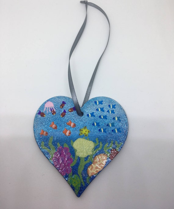 Coral Reef Hanging Heart, Ocean Wooden Heart, Wooden Heart Plaque