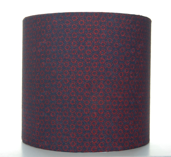 Red & Navy Silk Floral Lampshade, 20cm (8 inch) Drum Covered with Vintage Kimono Silk