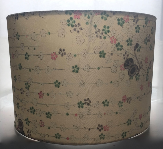 Japanese Cream Floral Silk Lamp Shade