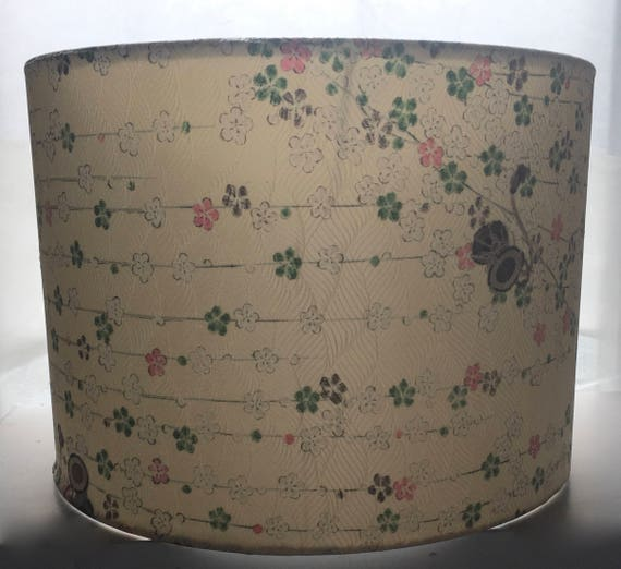 Japanese Cream Floral Silk Lamp Shade Made from Vintage Kimono Silk  30cm (12 inch)
