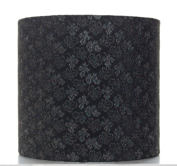 Black & Silver Floral Silk Lampshade, 20cm (8 inch) Drum Lampshade Covered with Vintage Kimono Silk