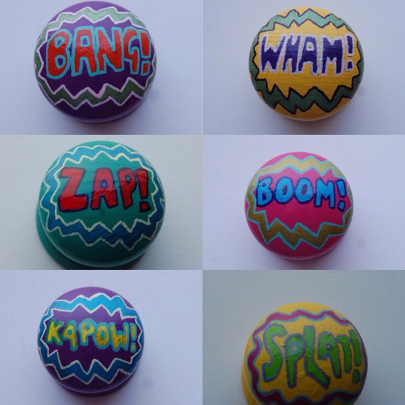 Comic Book Word Art Themed Drawer Knobs 3 Sizes Available 6 Designs Superhero Drawer Pulls Kids Room Decor Custom Drawer Knob Nursery Decor
