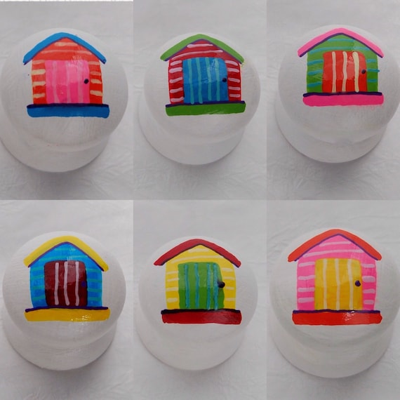 Beach Hut Drawer Knob/ Cupboard Handle Hand Painted 6 Colours Red, Green, Blue, Yellow, Orange and Pink 3 Sizes Available 30mm, 40mm, 53mm