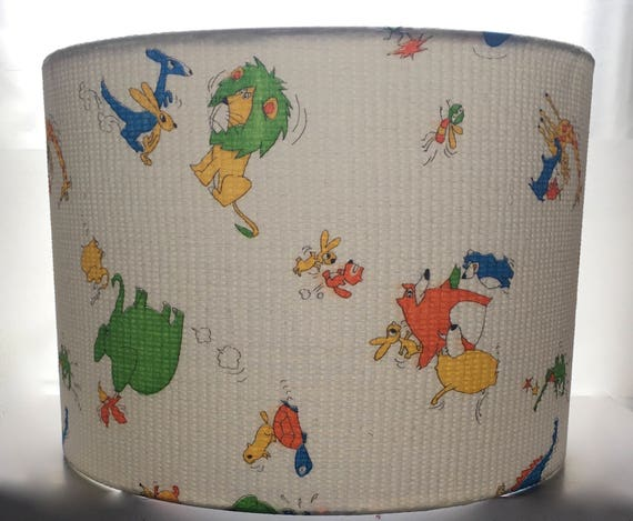 Manga Style  Animals Lampshade Made With Vintage Kimono Cotton 2 Sizes Available 20cm 30cm 8 inches 12 inches