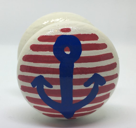 Anchor Drawer Knob/ Cupboard Handle Hand Painted, 3 Sizes Available 30mm, 40mm, 53mm Nautical Theme