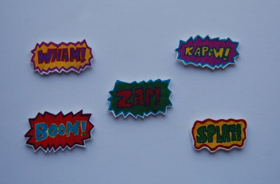 Retro Comic Book Pop Art Themed Kitchen/ Fridge Magnets Set of 5