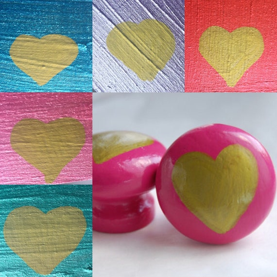 Golden Heart Drawer/ Cupboard Knob Hand Painted 3 Sizes Available 30mm, 40mm, 53mm