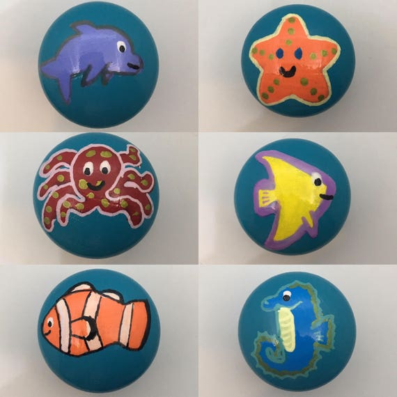 Coral Reef Fish Hand Painted Drawer Knobs 6 Designs Available