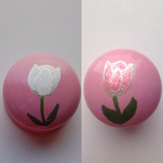 White or Pink Tulip Drawer Knob/ Cupboard Handle- Pink Handle- Hand Painted - 3 Sizes Available 30mm, 40mm, 53mm