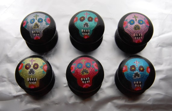 Dia de los Muertos Drawer Knobs/ Cupboard Handle, Hand Painted Set of 6 - 3 sizes available 30mm, 40mm, 53mm Sugar Skulls