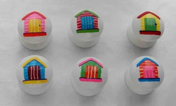 Beach Hut Drawer Knobs/ Cupboard Handle Hand Painted Set of 6 Coastal/ Nautical Decor 3 Sizes Available
