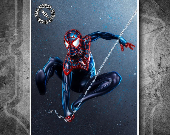 Spider-Man Miles Morales - Fine Art Print - Hand Drawing
