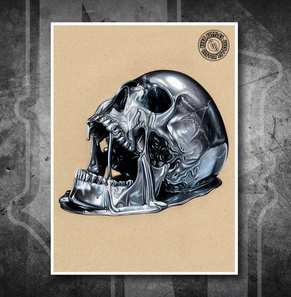 Chrome Skull - Fine Art Print - Hand Drawing