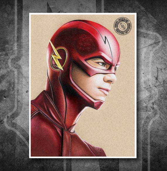 The Flash Grant Gustin - Fine Art Print - Hand Drawing