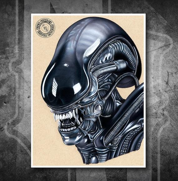 Alien Xenomorph - Fine Art Print - Hand Drawing