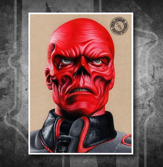 Red Skull Captain America - Fine Art Print - Hand Drawing