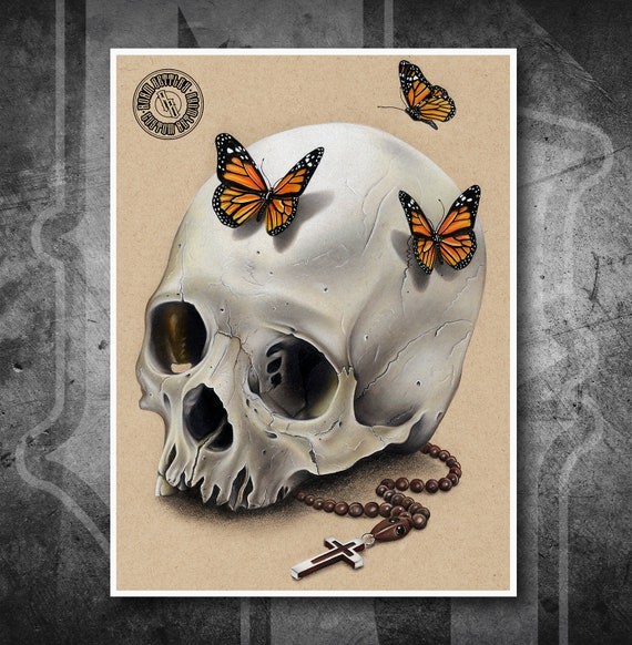 Butterfly Skull - Fine Art Print - Hand Drawing