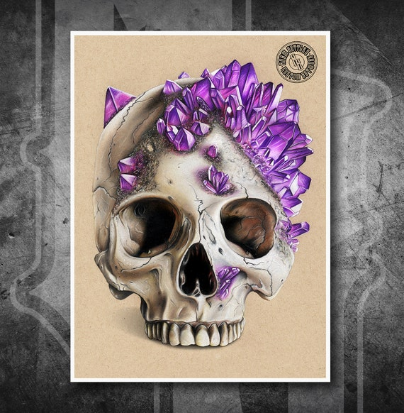 Crystal Skull - Fine Art Print - Hand Drawing