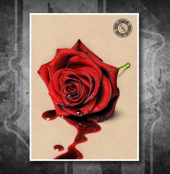 Bleeding Rose - Fine Art Print - Hand Drawing