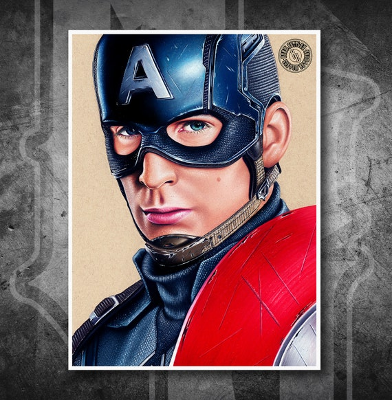 Captain America - Fine Art Print - Hand Drawing