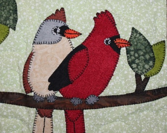 Cardinals PDF applique quilt block pattern; whimsical woodlands animal birds child's or baby quilt pattern; Valentine's Day quilt