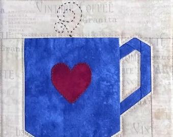 Coffee mug PDF quilt block pattern