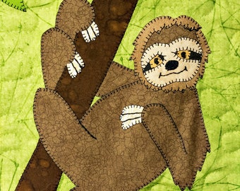 Sloth PDF applique baby quilt block pattern; jungle or zoo or rain forest whimsical nursery or kid's animal applique quilt pattern