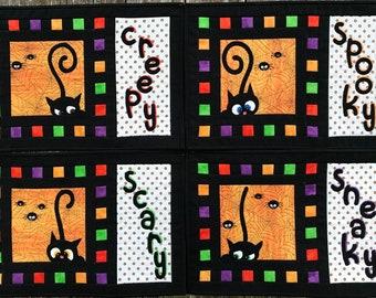 Halloween cat place mats PDF pattern