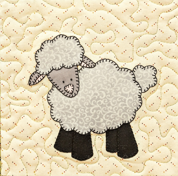 Lamb Or Sheep Pdf Applique Pattern Farm Animal Applique Quilt Etsy