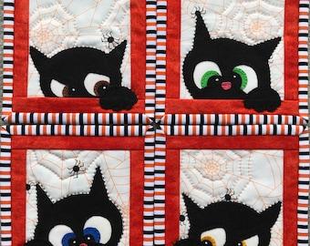 Halloween cat coasters PDF applique pattern