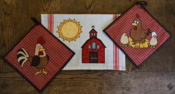 Hen and chicks pdf applique pattern farm animal quilt block