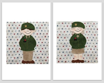 Army officer PDF quilt block pattern