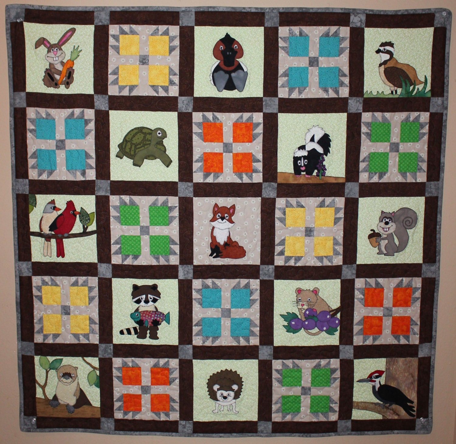 Woodland Or Forest Animal Applique Pdf Quilt Pattern Etsy