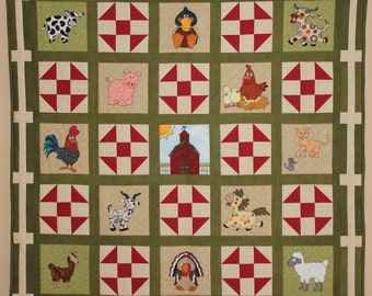 Farm animal applique PDF baby quilt pattern; shoo fly block; boy or girl Down on the Farm quilt; chicken goat pig pattern; child's quilt