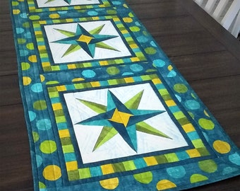 Mariner's Star quilted table runner and place mats PDF pattern