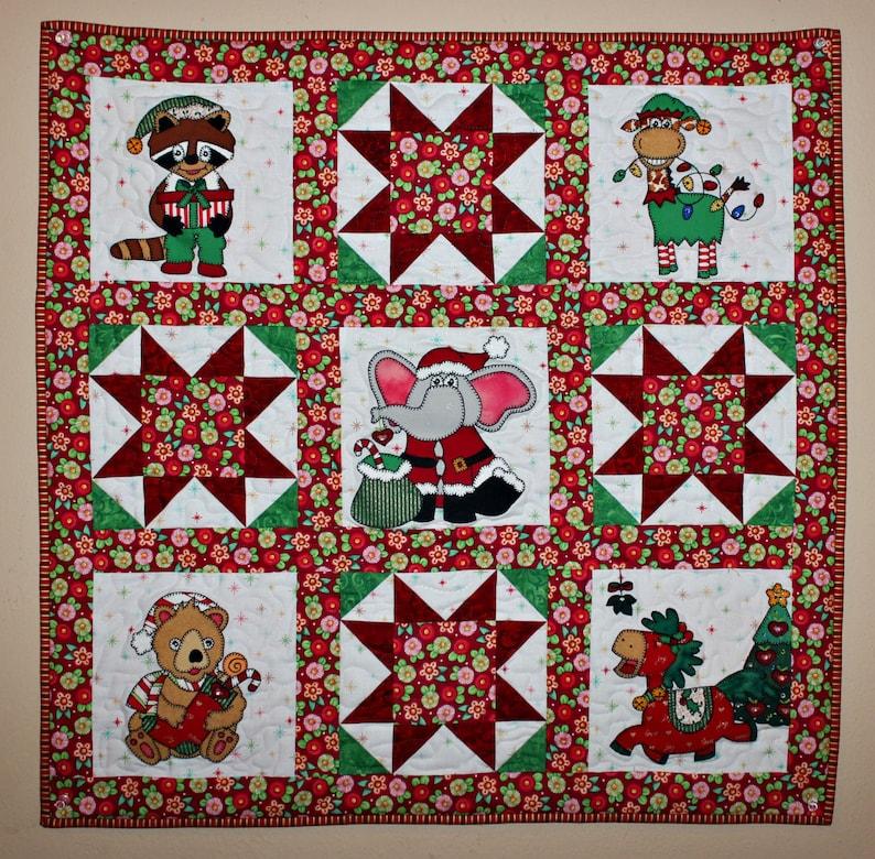 Christmas elf animals PDF applique block pattern