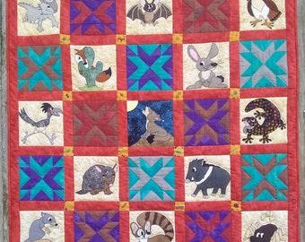 Southwestern desert animal PDF quilt pattern; Southwest Critters