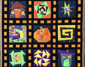 Wonky Halloween sampler PDF quilt pattern