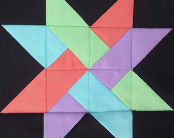 Woven Star PDF pieced quilt block pattern