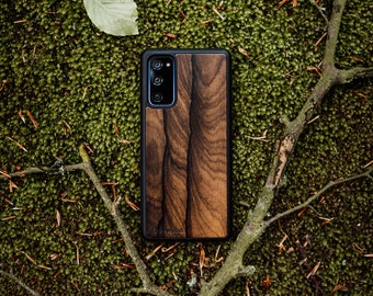 Wooden Case for Samsung Galaxy S21 / S20 / A72 / A52 / A51 / A71 / NOTE 20 / and other - Ziricote - Real Natural Wood Case