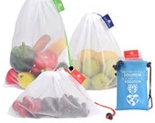 Set of 9 Reusable Produce Bags. See-Through mesh bags for Fruit and Veggies. Double-Stitched Strength, Tare Weight tags.
