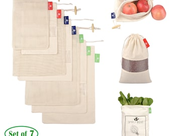 00dafcc35b5 Set of 7 Natural Cotton Reusable produce bags. Mesh, muslin reusable bags  for bulk food storage and Bag for leafy greens.