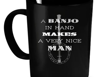 Banjos Coffee Mug 11 oz. Perfect Gift for Your Dad, Mom, Boyfriend, Girlfriend, or Friend - Proudly Made in the USA! Banjos gift