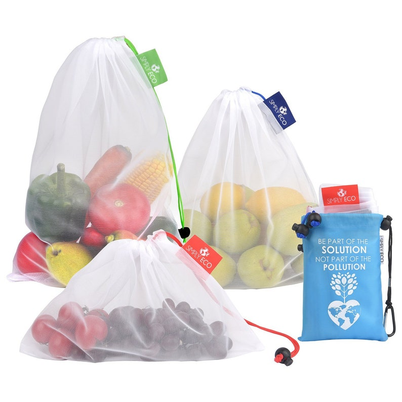 Set of 9 Eco-Friendly Reusable Produce Bags. See-Through mesh image 0