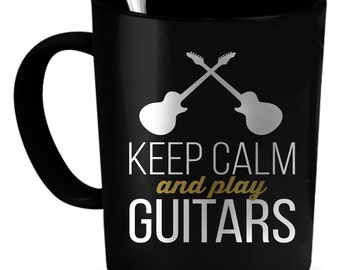 Guitars Coffee Mug 11 oz. Perfect Gift for Your Dad, Mom, Boyfriend, Girlfriend, or Friend - Proudly Made in the USA! Guitars gift